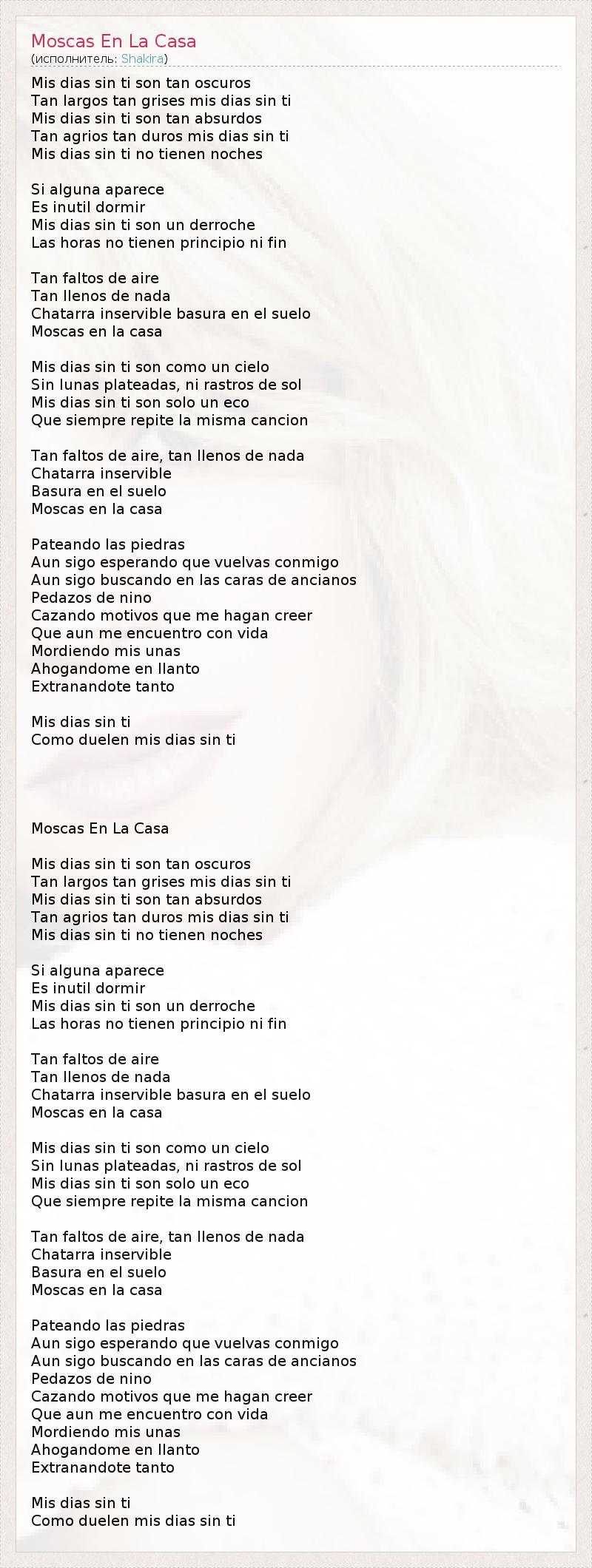 текст песни Moscas En La Casa слова песни
